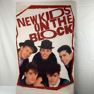 """New Kids On The Block Fabric Poster Tapestry Flag 24"""" x 38"""" Mounted 1989"""