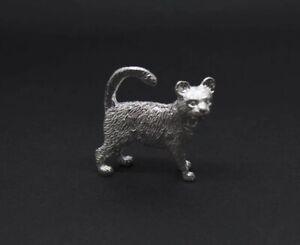 English Made Sterling Silver Cat Animal Figurine UK Hallmarks