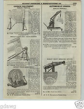 1922 PAPER AD Manley Portable Automobile Car Engine Crane Tow Wrecker Truck