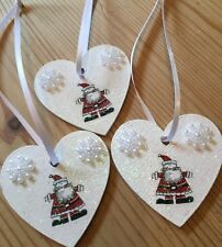 3 X Father Christmas Hanging Decorations Country Shabby Chic Snowflakes Santa