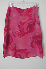 Guess Collection Pink/Red Floral Print Side Slits Knee-Length Skirt  NWOT SZ:10