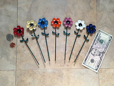 """Up-Cycled Metal: tiny 1 1/2"""" colorful painted Garden flower stake decorations"""