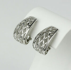 14k White Gold Multi-Texture Layered French Clip Stud Earrings