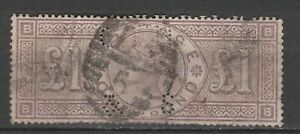 Great Britain Queen Victoria 1884 SG 185 £1 brown-lilac wmk Imperial crowns used