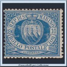 San Marino 1877 Stemma cent. 10 azzurro n. 3A PROPOSTA