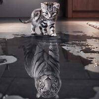 Handicrafts Cat Reflection Tiger 5D Diy Diamond Embroidery Painting Cross Stitch