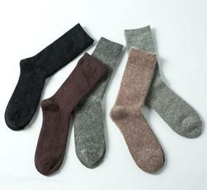 5/ 10Pairs 100% Angora Pure Cashmere Wool Thick Mens Socks Warm Pure Color 7-11