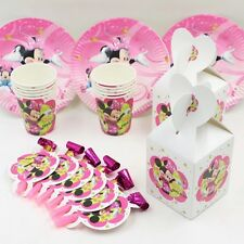 40 Pcs Set For 10 People Minnie Mouse Theme Kids Birthday Party Supplies.