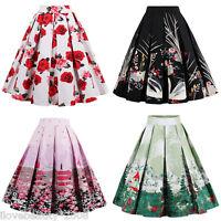 Vintage 1950s 60s Retro Floral Print Waist Pleated Midi Skirt A line Swing Skirt