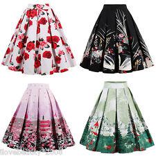 1950s 60s Retro Vintage Floral Print Waist Pleated Midi Skirt A line Swing Skirt