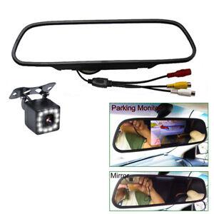 "Universal 5"" Car Dash Mirror Rear View Monitor w/ Parking Backup Camera 12 LED"