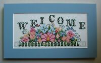 """""""Welcome"""" Pink and Blue Flowers Cross Stitch Completed Finished Unframed Matted"""