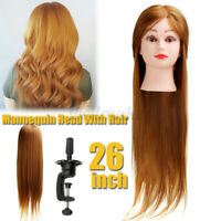 Salon Human Hair Training Head Hairdressing Styling Mannequin Doll + Clamp 26in