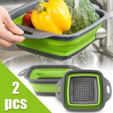 2pcs Set Silicone Collapsible Colander Foldable Washing Drain Strainer Basket US