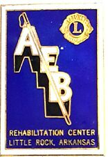 "Vintage 1.5"" Brass Lions Club Pin ""AEB Rehabilitation Center Little Rock AK"""