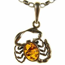 BALTIC AMBER STERLING SILVER 925 SCORPIO PENDANT NECKLACE CHAIN JEWELLERY GIFT
