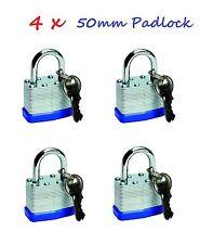 4 x 50mm 2 KEYED PADLOCK HEAVY DUTY LAMINATED STEEL PADLOCKS USE SAME KEYS