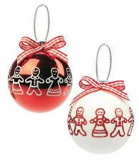 PAN Di Zenzero Uomo Red & WHITE CHRISTMAS TREE PALLINE x2 76020 NUOVO 19669
