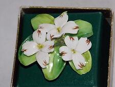 CROWN British China Dogwood Flower Brooch Handpainted Staffordshire England BOX