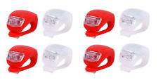 lot of 4 x Bright Waterproof SILICON LED BIKE LIGHT SET Front Light + Tail Light