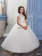Cute White First Communion Dresses 2017 Kids Flower Girl Dresses Weddings Gown