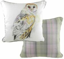 FILLED LUXURY WATERCOLOUR OWL TARTAN CHECK EVANS LICHFIELD BROWN CUSHION 17""