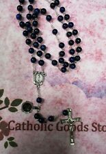 8 mm Lapis Stone Beads with Deluxe Silver Tone Oxidized Crucifix - Rosary 1108LP