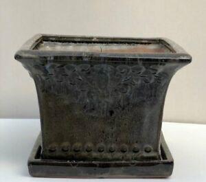 """Ceramic Marbled Brown Bonsai Pot Square W/ Drip Tray 8.0"""" x 8.0"""" x 5.75"""" Tall"""