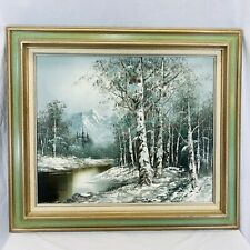 Vintage Original Winter Mountains River Landscape Signed Oil Painting On Canvas