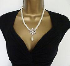 """Beautiful 20"""" Glass Pearl Necklace & Flower Pendant Jewellery Set Drop Earrings"""