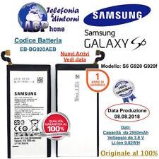 Batteria Samsung Galaxy S6 G920f da 2550 mAh 3,85V EB-BG920ABE Originale