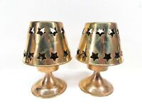 Brass Candle Holders Fairy Lamp Pierced Star Shades Set of 2 India Vintage