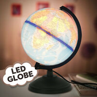 Tabletop World Earth Globe Geography Education Map LED Light+Rotating Home Decor