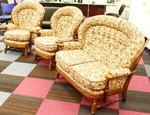 3 Piece Vintage Cottage Suite / Settee and Chairs - Great Craftsmanship