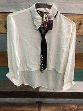 Chandelier White LS Shirt Women's SZ S Hi Lo Attached Studded Tie New $156 New