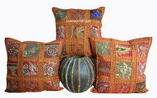 "INDIAN 16X16"" NEW ZARI WORK CUSHION COVER ETHNIC DECOR ART SET OF 3"