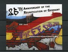 Liberia 2015 MNH Reunification of Germany 25th Anniv 1v S/S Berlin Wall Graffiti