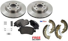 FOR RENAULT CLIO MK3 FRONT BRAKE DISCS, PADS & REAR SHOES & SHOES FITTING KIT