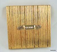 Evans Ladies Powder Compact c1950s Rhinestone Bar Textured Gold Tone Signed Vtg