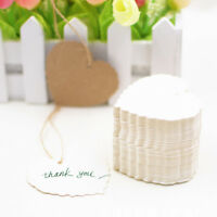 100x Heart Shape Christmas Kraft Paper Gift Tags Price Wedding Label Blank S