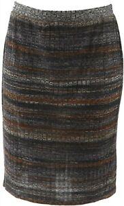 LOGO Lori Goldstein Printed Stripe Rib Knit Skirt Neutral Combo XXS NEW A282137