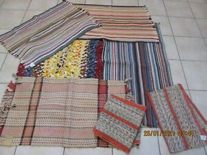 Lot of 7  Rag Woven Rugs Oval Hand Hooked Woven Textiles (#15)