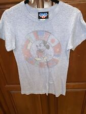 Disney T Shirt Junk Food Brand Mickey Mouse Flags Blue Size L Crew Neck Tee
