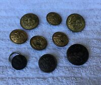 *Group of 9 Vintage Metal Military Uniform Buttons