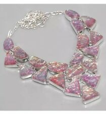 Pink Fire Opal Opalite 925 Silver Overlay CLUSTER Statement Choker Necklace 18""