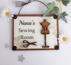 Nana's Sewing Room Wooden Plaque Door Hanger