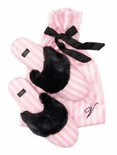 VICTORIA'S SECRET CLASSIC PINK STRIPE BLACK FUZZY COZY SATIN SLIPPERS LARGE 9 10