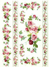 A/4 carta da decoupage soft-rose e bordi-ALBUM FOGLI vintage