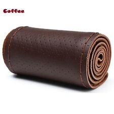 Coffee 38cm Genuine Leather DIY Car Steering Wheel Cover With Needles and Thread
