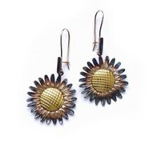 STERLING SILVER EARRINGS SUNFLOWERS FLOWERS HANDCRAFTED ARTISTIC JEWELRY 925